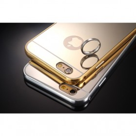 Aluminium Bumper with Mirror Back Cover for iPhone 6/6s - Golden - 7