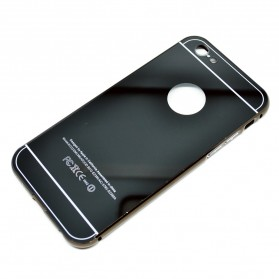 Aluminium Bumper with Mirror Back Cover for iPhone 6 Plus - Black