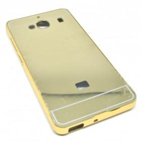 Aluminium Bumper with Mirror Back Cover for Xiaomi Redmi 2 - Golden
