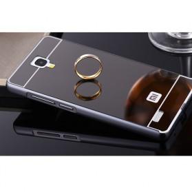 Aluminium Bumper with Mirror Back Cover for Xiaomi Redmi Note - Black