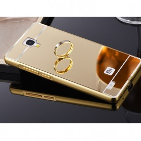 Aluminium Bumper with Mirror Back Cover for Xiaomi Redmi Note - Golden