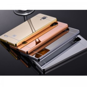 Aluminium Bumper with Mirror Back Cover for Xiaomi Redmi Note - Golden - 2