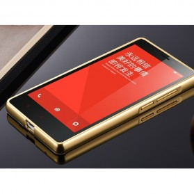 Aluminium Bumper with Mirror Back Cover for Xiaomi Redmi Note - Golden - 3