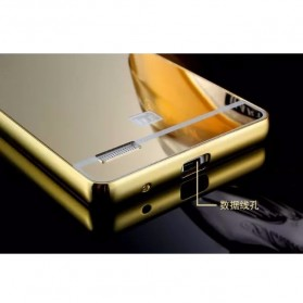Aluminium Bumper with Mirror Back Cover for Xiaomi Redmi Note - Golden - 4