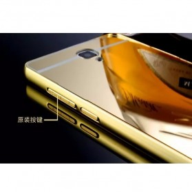 Aluminium Bumper with Mirror Back Cover for Xiaomi Redmi Note - Golden - 5