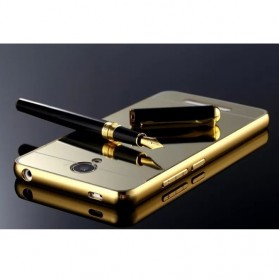 Aluminium Bumper with Mirror Back Cover for Xiaomi Redmi Note 2 - Golden