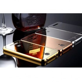Aluminium Bumper with Mirror Back Cover for Xiaomi Redmi Note 2 - Golden - 4
