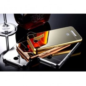 Aluminium Bumper with Mirror Back Cover for Xiaomi Redmi Note 2 - Golden - 5