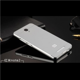 Aluminium Bumper with PC Back Cover for Xiaomi Redmi Note 2 - Silver