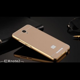 Aluminium Bumper with PC Back Cover for Xiaomi Redmi Note 2 - Golden