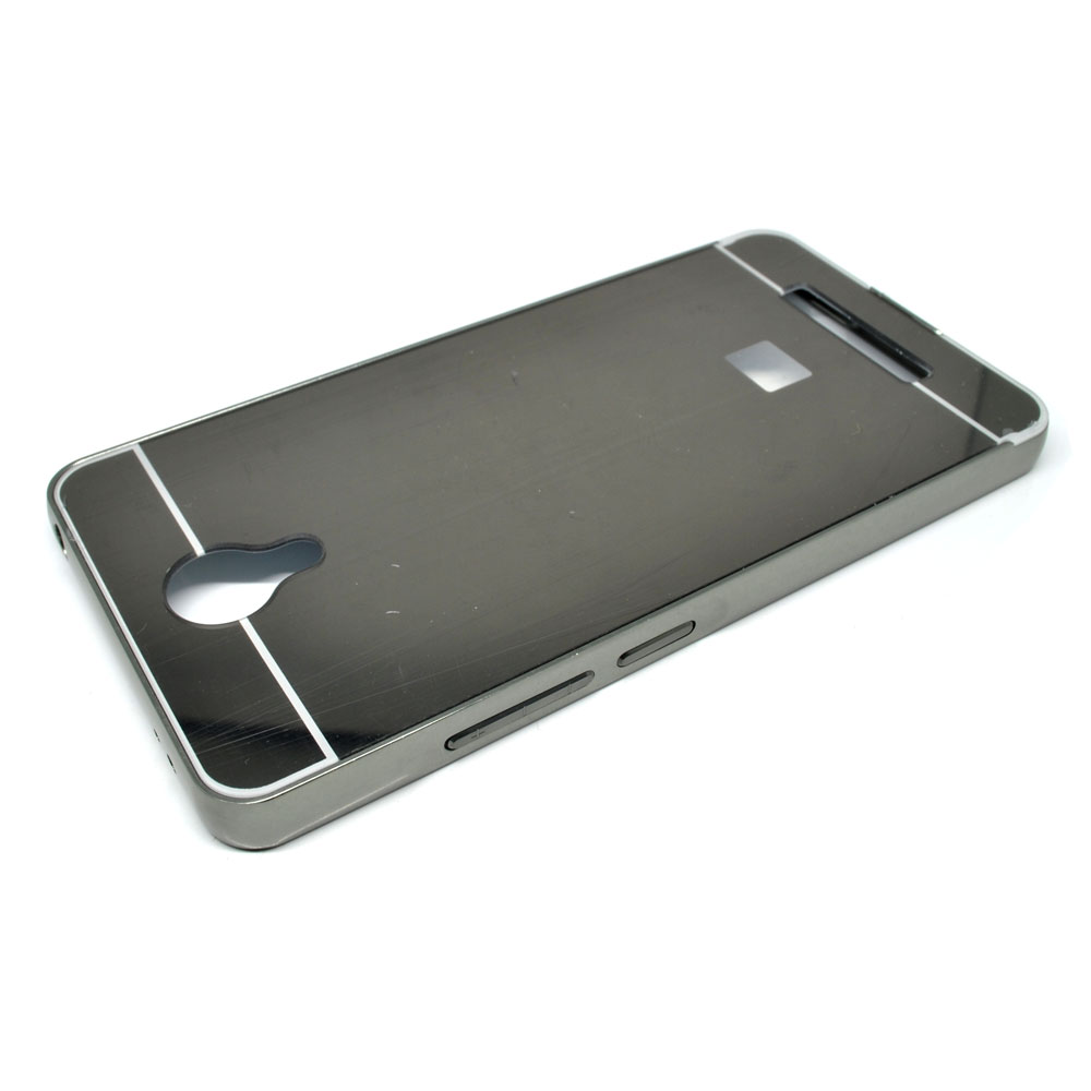 size 40 a0b9a 4a87f Aluminium Bumpers with Mirror Back Cover for Xiaomi Redmi Note 2 - Black
