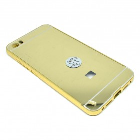 Aluminium Bumper with Mirror Back Cover for Xiaomi Mi5 - Golden