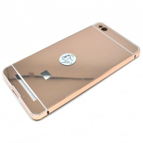 Aluminium Bumper with Mirror Back Cover for Xiaomi Redmi 3 - Rose Gold - 4