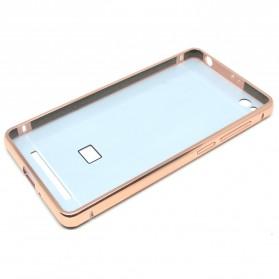 Aluminium Bumper with Mirror Back Cover for Xiaomi Redmi 3 - Rose Gold - 5