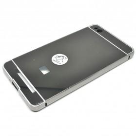Aluminium Bumper with Mirror Back Cover for Xiaomi Redmi 3 - Black