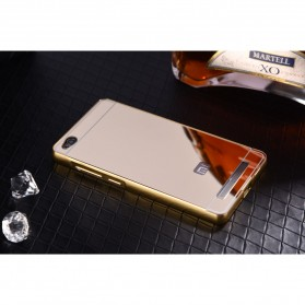 Aluminium Bumper with Mirror Back Cover for Xiaomi Redmi 3 - Golden