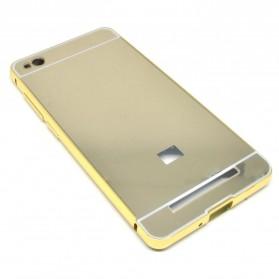 Aluminium Bumper with Mirror Back Cover for Xiaomi Redmi 3 - Golden - 3