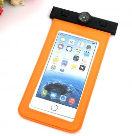 Waterproof Bag for Smartphone 5.5 Inch with Compass - Orange