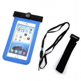 Waterproof Bag for Smartphone 5.5 Inch with Compass - Blue