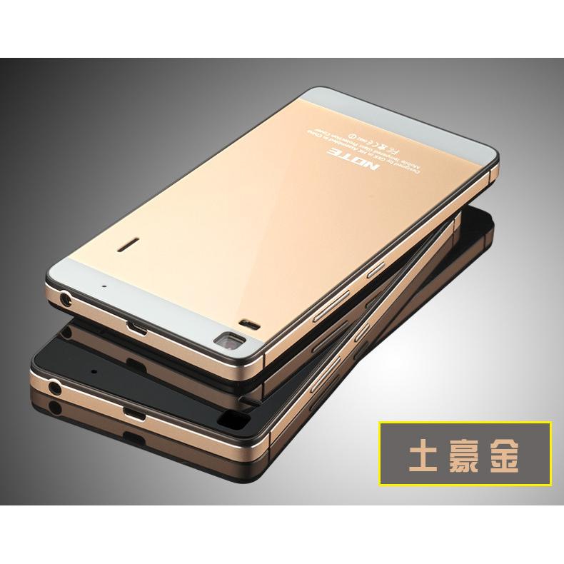 buy popular d2d2c 580e8 Aluminium Bumper Case with Mirror Back for Lenovo K3 Note A7000 - Black Gold