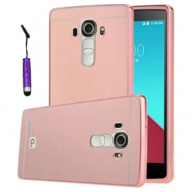 Aluminium Bumper with Mirror Back Cover for LG G4 - Rose Gold
