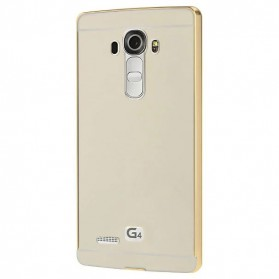 Aluminium Bumper with Mirror Back Cover for LG G4 - Golden - 2