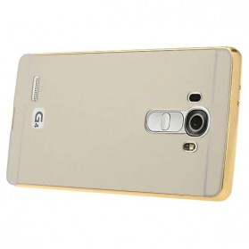 Aluminium Bumper with Mirror Back Cover for LG G4 - Golden - 3