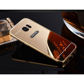 Aluminium Bumper with Mirror Back Cover for Samsung Galaxy S7 - Golden