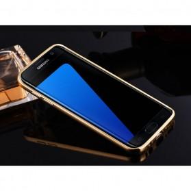 Aluminium Bumper with Mirror Back Cover for Samsung Galaxy S7 - Golden - 2