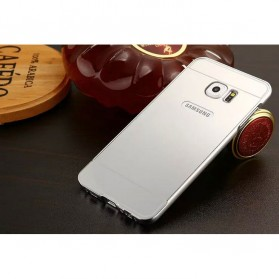 Aluminium Bumper Hardcase with Mirror Back Cover for Samsung Galaxy S7 Edge - Silver