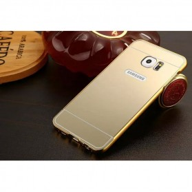 Aluminium Bumper Hardcase with Mirror Back Cover for Samsung Galaxy S7 Edge - Golden