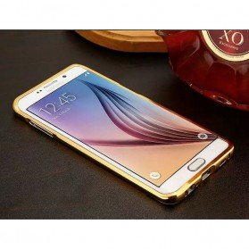 Aluminium Bumper Hardcase with Mirror Back Cover for Samsung Galaxy S7 Edge - Golden - 2