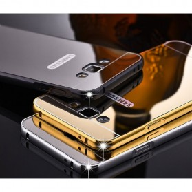 Aluminium Bumper Hardcase with Mirror Back Cover for Samsung Galaxy S7 Edge - Golden - 3