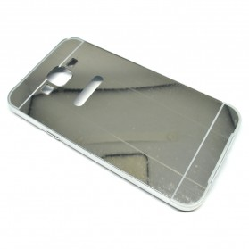 Aluminium Bumper Hardcase with Mirror Back Cover for Samsung Galaxy J7 2015 - Silver