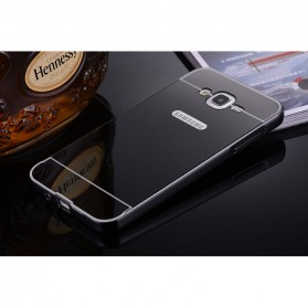 Aluminium Bumper Hardcase with Mirror Back Cover for Samsung Galaxy J7 2015 - Black
