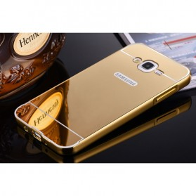 Aluminium Bumper Hardcase with Mirror Back Cover for Samsung Galaxy J7 2015 - Golden - 2