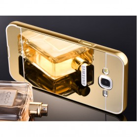 Aluminium Bumper Hardcase with Mirror Back Cover for Samsung Galaxy J7 2015 - Golden - 5