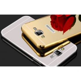 Aluminium Bumper Hardcase with Mirror Back Cover for Samsung Galaxy J7 2015 - Golden - 6