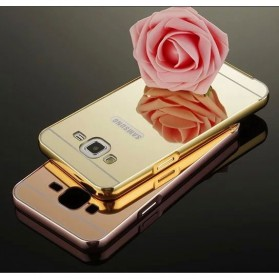 Aluminium Bumper Hardcase with Mirror Back Cover for Samsung Galaxy J7 2015 - Golden - 7