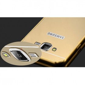 Aluminium Bumper Hardcase with Mirror Back Cover for Samsung Galaxy J7 2015 - Golden - 8