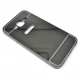 Aluminium Bumper with Mirror Back Cover for Samsung Galaxy J5 2015 - Black