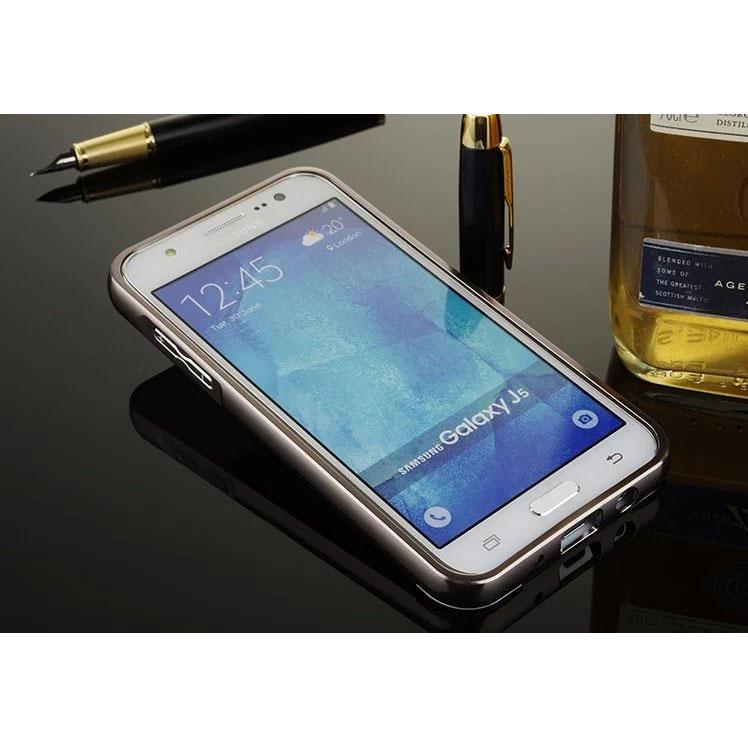 ... Aluminium Bumper with Mirror Back Cover for Samsung Galaxy J5 2015 - Black - 3 ...