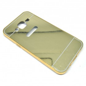 Aluminium Bumper with Mirror Back Cover for Samsung Galaxy J5 2015 - Golden