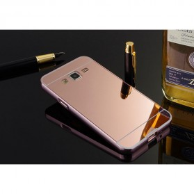 Aluminium Bumper with Mirror Back Cover for Samsung Galaxy J2 2015 - Rose Gold