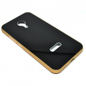 Aluminium Bumper with Mirror Back Cover for Meizu MX5 - Black Gold