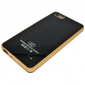 Aluminium Bumper with Mirror Back Cover for Huawei 4C - Black Gold - 3