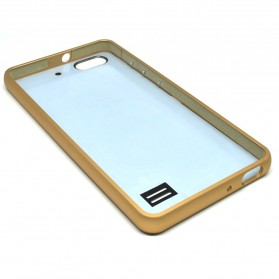 Aluminium Bumper with Mirror Back Cover for Huawei 4C - Black Gold - 4