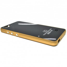 Aluminium Bumper with Mirror Back Cover for Huawei 4C - Black Gold - 6