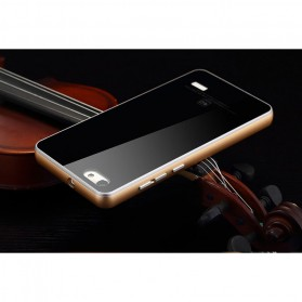 Aluminium Bumper with Mirror Back Cover for Huawei 4C - Black Gold - 10