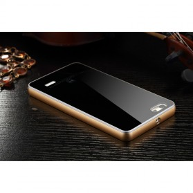Aluminium Bumper with Mirror Back Cover for Huawei 4C - Black Gold - 11